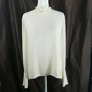 DANA BUCHMAN silk side zip turtleneck blouse 14/L